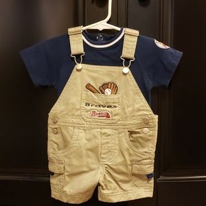 6/9 mo Braves Overalls in Tan